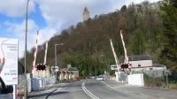 The Wallace Monument stands high above Waterside LC. on the new Alloa Line. <br><br>[Brian Forbes&nbsp;24/03/2007]