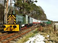 Some of the Deeside Railways rolling stock stands at Milton of Crathes on 26 March.<br><br>[John Gray&nbsp;26/03/2008]