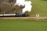 4160 crossing the A358 near Williton on the West Somerset Railway on 24 March 2008. <br><br>[Peter Todd&nbsp;24/03/2008]