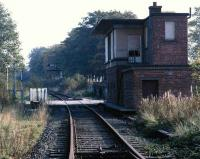 The closed Alloa West box in October 1985. Towards the end the box was manned 6 hours each working day to pass around two trips per week to Alloa Co-Op coal siding. Some weeks the signalmen saw no traffic  at all.<br><br>[Mark Dufton&nbsp;/10/1985]