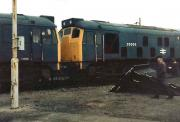 25007 and 25006 patiently awaiting their fate on one of the scrap lines alongside Swindon Works on 6 June 1981.  <br><br>[Colin Alexander&nbsp;06/06/1981]