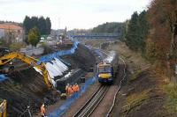 A Bathgate - Edinburgh service passes widening works near the former Bangour Junction in November 2007.<br><br>[James Young&nbsp;15/11/2007]