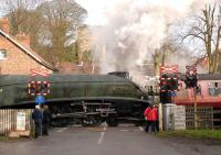 60019 <I>Bittern</I> departing over the level crossing at Pickering for Grosmont on 28 March 2008 as part of the NYMR steam weekend extravaganza.<br><br>[Peter Todd&nbsp;28/03/2008]