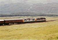 37409 <I> Loch Awe</I> and 37251 <I>Northern Lights</I> follow the West Highland Centenary steam special with the support coaches near Bridge of Orchy on the 7th August 1994.<br><br>[John Gray 07/08/1994]