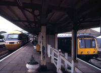Scene at St Erth, first stop out of Penzance, in August 1992, with an InterCity 125 on a Paddington service alongside the St Ives branch train.<br><br>[Ian Dinmore&nbsp;15/08/1982]