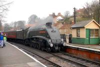 60009 <I>Union of South Africa</I> brings a train into Pickering on 28 March 2008.<br><br>[Peter Todd&nbsp;28/03/2008]