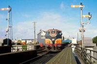 CIE 083 about to take a train out of Galway in 1991.<br><br>[Bill Roberton&nbsp;//1991]