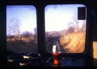 View through the cab window of a DMU on the Central Wales line near Cilmeri in 1991.<br><br>[Ian Dinmore&nbsp;//1991]