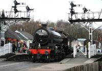 View north over Grosmont level crossing on 3 April 2008 as B1 61264 runs in from the shed to back onto a NYMR train for Pickering.<br><br>[John Furnevel&nbsp;03/04/2008]
