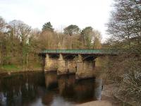 Two bridges in quick succession carried the Lancaster to Wennington line over the horseshoe bend in the river between Halton and Caton known as the Crook O Lune. This is the more easterly of the two and they both now carry the cycle path from Lancaster [See image 22834]. (SD 522647) <br><br>[Mark Bartlett&nbsp;10/04/2008]
