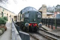 D6700 brings the empty stock for the first train of the day into Pickering station on 3 April 2008. <br><br>[John Furnevel&nbsp;03/04/2008]