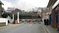 60009 <I>Union of South Africa</I> on the level crossing leaving Grosmont southbound on 3 April 2008. <br><br>[John Furnevel&nbsp;03/04/2008]