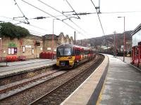 The Network Rail platforms at Keighley looking east on 1 April as 333015 departs on a Skipton - Leeds service. <br><br>[Mark Bartlett&nbsp;01/04/2008]
