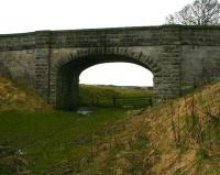 Old bridge over the trackbed between Causewayend and Blackston on the Slammanan Railway. View west on 25 March 2008.<br><br>[Craig Seath&nbsp;25/03/2008]