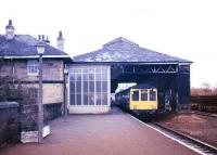 Malton station (1845) and original train shed photographed in 1987 with a DMU about to leave with a service to York.<br><br>[Ian Dinmore&nbsp;//1987]