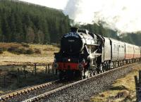 45407 is pictured running fast between Achanalt and Achnasheen with <I>The North Briton</I> on 14 April 2008.<br><br>[John Gray&nbsp;14/04/2008]