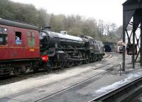 B1 61264 running tender first with a train from Pickering on 3 April passing the coaling plant at Grosmont shed and about to enter the tunnel.<br><br>[John Furnevel&nbsp;03/04/2008]