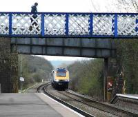 A 125 prepares to call at Kingham. This station once had four platforms, a locomotive shed and three junctions connecting to the Cheltenham to Banbury line. It now has two platforms.<br><br>[Ewan Crawford&nbsp;12/04/2008]