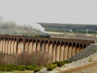 45407 and 60009 cross Culloden Viaduct and have a good head of steam ready for the climb up to Moy with <I> The North Briton </I> railtour.<br><br>[John Gray&nbsp;15/04/2008]