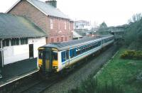 The morning Stranraer - Newcastle service formed by 156 437 at Maybole on 20 March 1998.  <br><br>[David Panton&nbsp;20/03/1998]