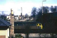 View east over Dumfries station in 1971 as class 47 D1628 pauses with a southbound train.<br><br>[John McIntyre&nbsp;//1971]