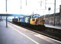 37 051 takes a lightweight freight south through Motherwell in October 1987.<br><br>[David Panton&nbsp;/10/1987]