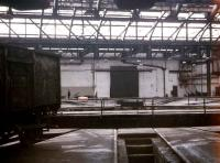 A solitary wagon sits on a turtable road in a roundhouse at York in June 1969. This was one of the buildings subsequently converted to form part of the NRM.<br><br>[John McIntyre&nbsp;08/06/1969]