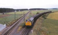 25234 coming off the former Hopeman branch with a freight from Burghead stands at Alves Junction awaiting clearance onto the Aberdeen - Inverness line on 3 August 1979.<br><br>[Peter Todd&nbsp;03/08/1979]
