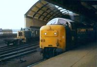 Deltic 55003 <I>Meld</I> stands at the east end of Newcastle Central on 22 November 1980. Class 03 locomotive 03067 shunts in the background.<br><br>[Colin Alexander&nbsp;22/11/1980]