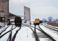 Winters day at Dufftown on 5 February 1979 with 25233 standing in the yard at the head of a freight.<br><br>[Peter Todd&nbsp;05/02/1979]