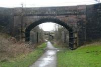 Route of the Devon Valley line looking south towards Sauchie station  in February 2008. Between the two bridges are the abutments of the bridge that carried the Alloa Wagonway into Sauchie Colliery and the Devon Ironworks. [See image 18271]<br><br>[John Furnevel&nbsp;28/02/2008]