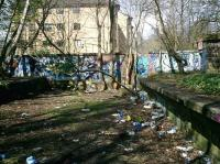 Remains of the Glasgow Central Railway at Kirklee Station site.  Looking north in April 2008 to where the railway bridge crossed Ford Road. Please excuse the litter.<br><br>[Alistair MacKenzie&nbsp;24/04/2008]