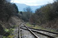 Looking to the buffer stop (in the distance) at Battersby. The line once ran from Picton to Grosmont near Whitby. The high ground in the distance was was climbed by the Ingleby incline of the Rosedale Branch<br><br>[Ewan Crawford&nbsp;03/04/2008]