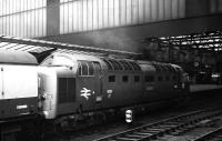 Deltic 9001 <I>St Paddy</I> enters Carlisle station with a diverted Edinburgh - Kings Cross service on 30 May 1972. After passing through the station the train headed east along the Newcastle and Carlisle line.<br><br>[John McIntyre&nbsp;30/05/1972]