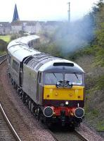 <I>The Royal Scotsman</I> accelerates north from Dysart on 28 April behind 47804.<br><br>[Bill Roberton&nbsp;28/04/2008]