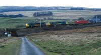 Were you worried about the load? A double headed Freightliner runs south from Shap Summit ... and it was a longer train than is shown here ...<br><br>[Ewan Crawford&nbsp;14/04/2008]