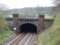 The artificial tunnel at Gisburn, on the line between Hellifield and Clitheroe, is only 157 yards long. It was built to protect the view from Gisburne Park (sic) and the castellations on the far portals can also be seen in this view towards Hellifield in April 2008. The remains of Gisburn station are just behind the photographer. (SD 826489) <br><br>[Mark Bartlett&nbsp;28/04/2008]