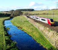 Northbound Virgin service near Little Strickland.<br><br>[Ewan Crawford&nbsp;14/04/2008]
