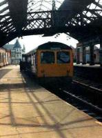 A Cravens DMU waits under the overall roof at South Shields on 7 May 1981 with a return service to Newcastle Central. The old station closed 24 days later. <br><br>[Colin Alexander&nbsp;07/05/1981]