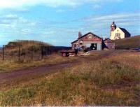 Looking back at the passenger station at Macduff in June 1979. The building still survives in good condition as a fishing net and rope repair business, although the site is less recognisable as a railway terminus. <br><br>[John Williamson&nbsp;/06/1979]