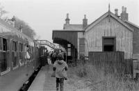View east along the platform at Cambus towards the level crossing during a DMU railtour in 1974.<br><br>[Bill Roberton&nbsp;//1974]