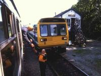 Token exchange between class 108 and class 142 crossing services at Llanrwst on the Blaenau Ffestiniog branch in July 1986.<br><br>[Ian Dinmore&nbsp;12/07/1986]