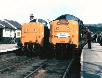 The first 2 locomotives obtained by the Deltic Preservation Society, 55009 <I>Alycidon</I> and 55019 <I>Royal Highland Fusilier</I>, make their preservation debuts at Grosmont on 21 August 1982.    <br><br>[Colin Alexander&nbsp;21/08/1982]