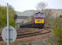 D1015 <I>Western Champion</I> approaching Niddrie South Junction on 3 May with empty stock.<br><br>[Bill Roberton&nbsp;03/05/2008]