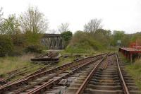 The Bristol Industrial Museum railway general terminus layout seen on 25 April. The remains of the far left track head towards the former Ashton swing bridge.<br><br>[Peter Todd&nbsp;25/04/2008]