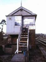 Signalman Mike Hayman on the steps of Cowley Bridge Junction box, Exeter, in 1980.<br><br>[Ian Dinmore&nbsp;//1980]