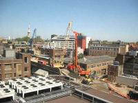 Work on a new bridge that will carry the East London Line extension over New Inn Yard, Shoreditch.<br><br>[Michael Gibb&nbsp;08/05/2008]