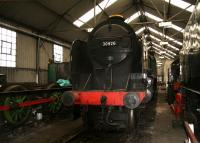 The SR <I>Schools</I> class locomotives were the most powerful 4-4-0s ever built. Preserved example 30926 <I>Repton</I>, is receiving attention at Grosmont shed on 3 April 2008.<br><br>[John Furnevel&nbsp;03/04/2008]