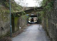View along the former Alloa Wagonway on 27 March 2008 showing the route heading south from the Station Hotel towards the <I>tunnel</I> under the junction of Drysdale Street and Mar Street. Note the reinforcing struts added during the last century and the steps that now provide pedestrian access to street level.  <br><br>[John Furnevel&nbsp;27/03/2008]