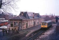 The old station at Stourbridge Town in 1977 with the railcar about to leave for Stourbridge Junction. The station closed 2 years later in its centenary year to be replaced by a new station a short distance to the southeast. This second station lasted a mere 15 years, being replaced by the current Stourbridge Town station in 1994.<br><br>[Ian Dinmore&nbsp;//1977]